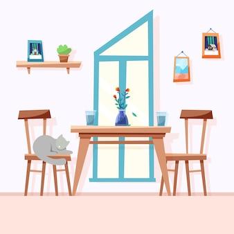 Calda sala da pranzo accanto alla finestra