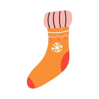 Calzino arancione caldo con fiocco di neve, illustrazione vettoriale piatta.
