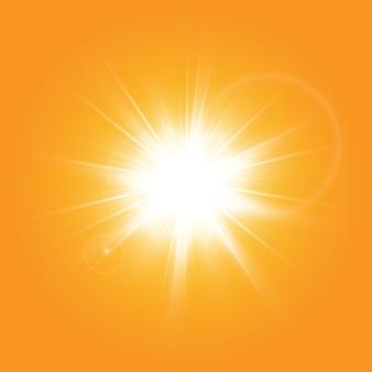 Sole caldo su sfondo giallo. leto.bliki solar rays.range sfondo giallo.