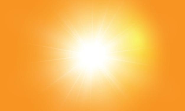 Sole caldo su sfondo giallo. raggi solari leto.bliki sfondo giallo arancio.