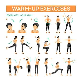 Esercizio di riscaldamento impostato prima dell'allenamento. allunga i muscoli