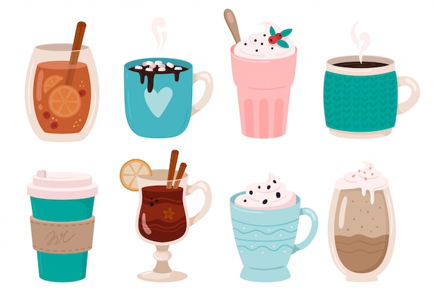 Bevande invernali riscaldanti. cioccolata calda, cacao con marshmallow e panna montata. vin brulé nell'insieme dell'illustrazione della tazza di inverni
