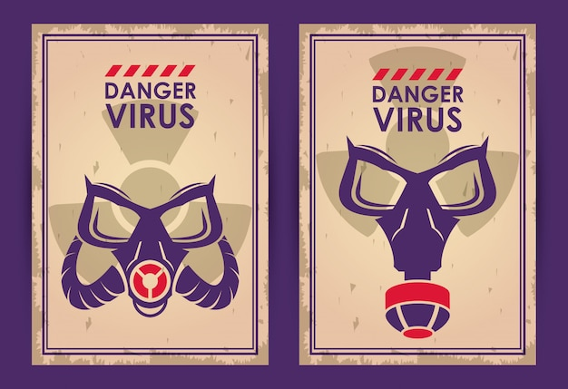 Avvertimento virus di pericolo con maschere