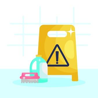 Segnale di avvertimento per pavimento con bottiglia di prodotto per la pulizia e pennello.