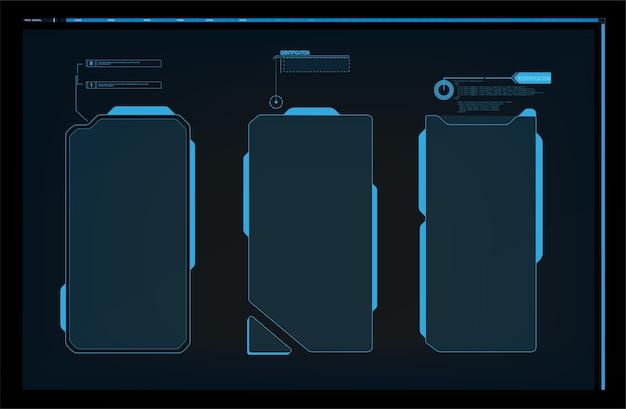 Cornice di avvertimento. progettazione astratta di tecnologia struttura futuristica blu e rossa nell'hud moderno