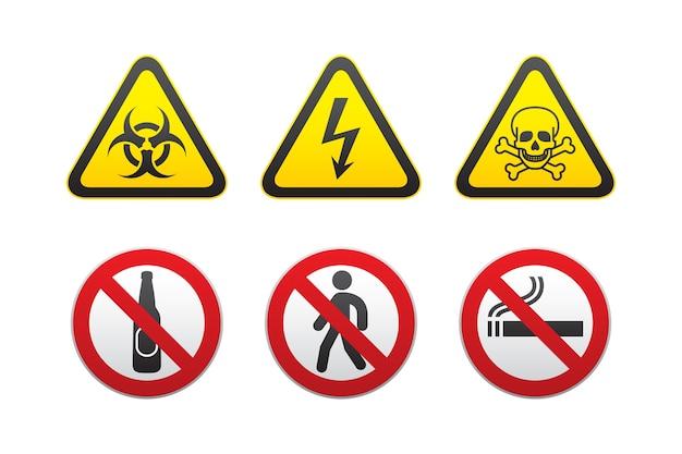Set di segnali di pericolo e divieto di avvertimento