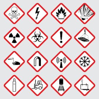 Pittogrammi di vettore di pericolo di avvertimento Vettore Premium