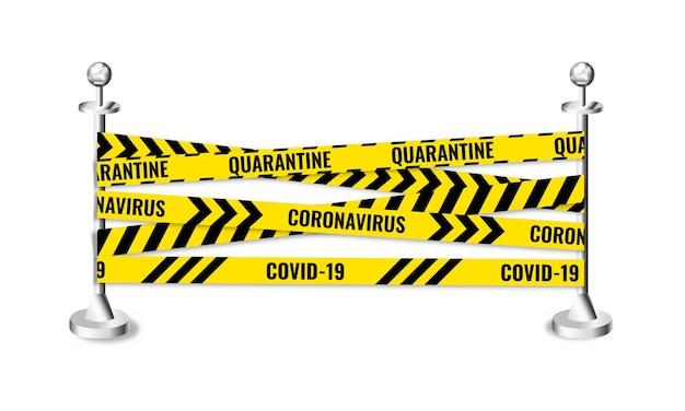 Avvertimento nastro di quarantena con supporti strisce di arresto del coronavirus covid19 barricata di nastri senza cuciture
