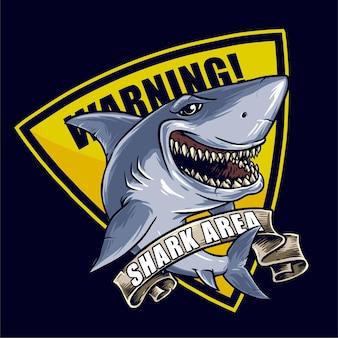 Cartello segnaletico di pericolo zona squalo