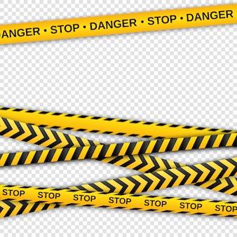 Nastri gialli e neri di avviso. nastro per recinzioni di sicurezza.