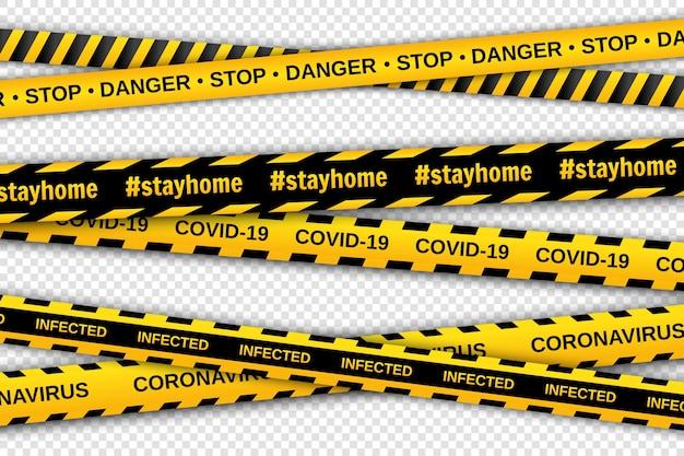 Nastri di avvertimento gialli e neri su sfondo trasparente. nastri di recinzione di sicurezza. coronavirus pandemico globale.