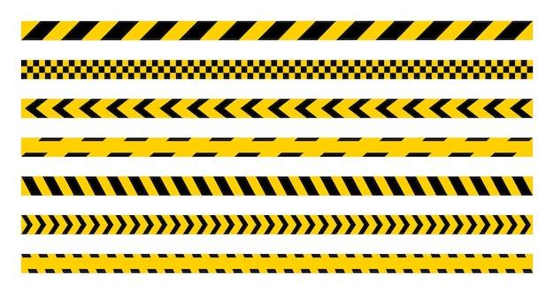 Set di nastri gialli di avvertenza. bordi a strisce. pericolo, cautela, strisce di polizia. barricata di nastri senza soluzione di continuità.