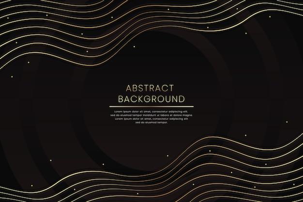 Linee ondeggianti deformate fondo oro nero