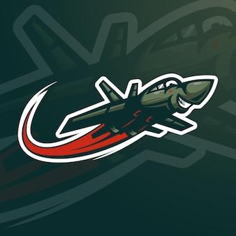 Illustrazione di vettore di progettazione del logo della mascotte dell'aereo da guerra per lo sport, il gioco e la squadra