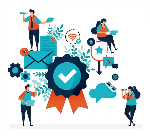 Badge di garanzia e garanzia di soddisfazione del cliente. verifica e conferma della qualità