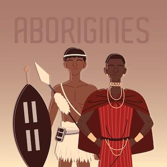 Personaggio aborigeno guerriero