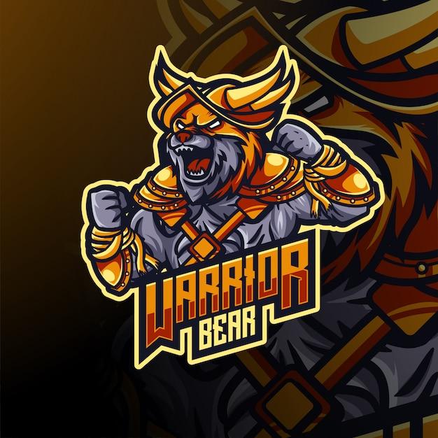 Orso guerriero esport logo e design mascotte