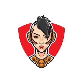 Logo con testa cyber girl warrior