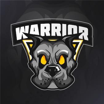 Logo della mascotte del cane guerriero