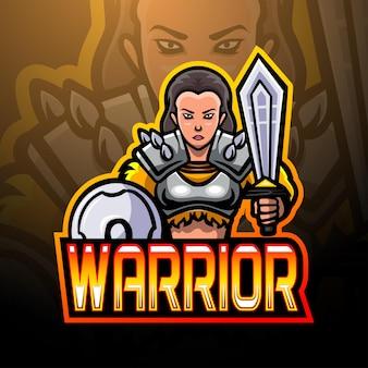 Disegno della mascotte del logo esport del guerriero