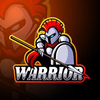 Mascotte del logo esport del guerriero