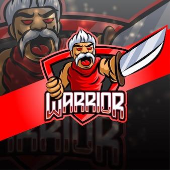 Warrior esport logo design della mascotte