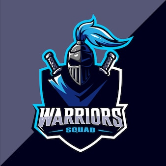 Warrior esport logo design della mascotte