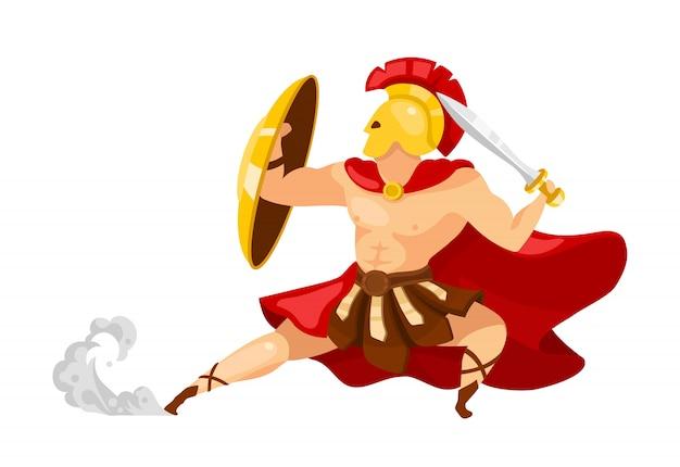 Illustrazione piatta del guerriero. teseo in armatura. gladiatore con scudo e spada. mitologia greca. posa combattente in azione. l'uomo nella posizione di difesa ha isolato il personaggio dei cartoni animati su fondo bianco