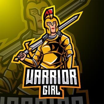 Disegno del logo della mascotte esport della ragazza guerriera