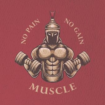 Illustrazione retrò retrò palestra guerriero per design tshirt e poster design