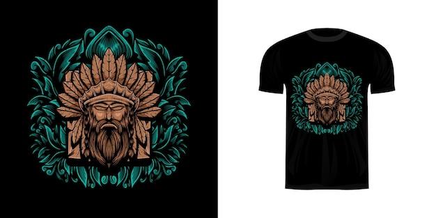 Illustrazione del guerriero con ornamento incisione per il design della maglietta
