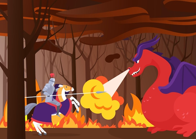 Il cavaliere guerriero combatte l'eroe del drago a cavallo con scudo e lancia nella foresta in fiamme