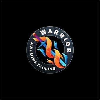 Guerriero logo design vettoriale moderno colore