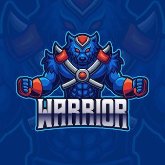 Modello di logo di gioco di e-sport della mascotte del guerriero