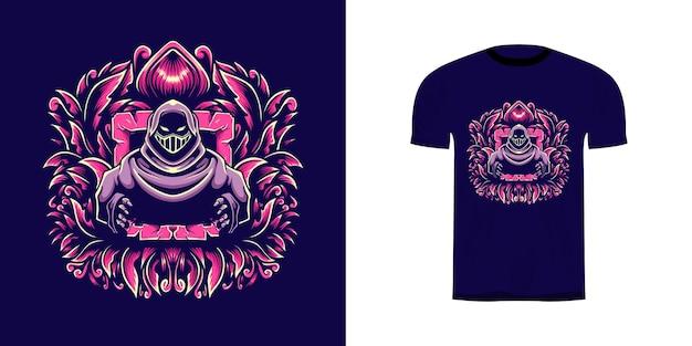 Illustrazione della maschera del guerriero con decorazioni incise per il design della maglietta