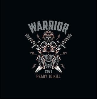 Teschio guerriero, maglietta, stile linea disegnata a mano con colore digitale, illustrazione
