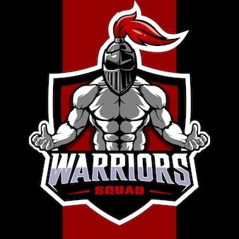 Design del logo della mascotte esport della squadra guerriera