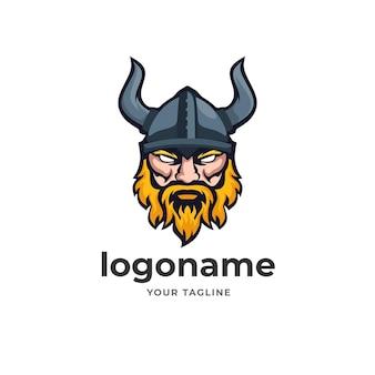 Mascotte del logo del guerriero vichingo per la società di affari di tecnologia di stile di gioco e sport