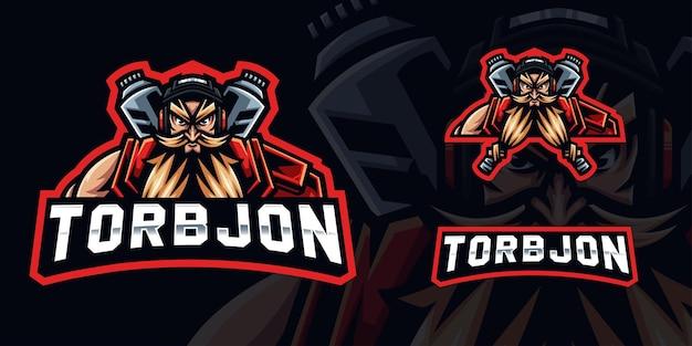 Guerriero con logo mascotte da gioco con barba per streamer e squadra di esport