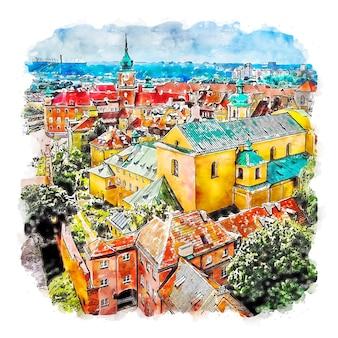 Illustrazione disegnata a mano di schizzo ad acquerello di varsavia polonia
