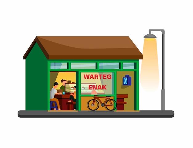 Concetto tradizionale indonesiano della costruzione del ristorante di warteg nel vettore dell'illustrazione del fumetto isolato