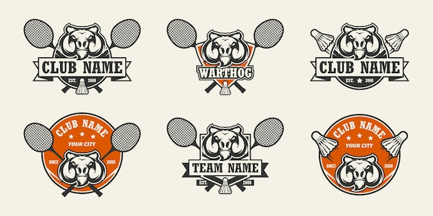 Logo sport testa di facocero. set di loghi di badminton.