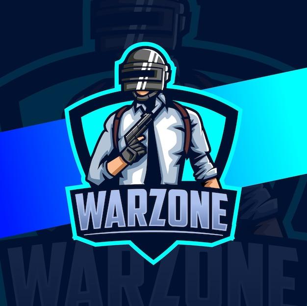 Esercito della zona di guerra con design del logo esport della mascotte della pistola