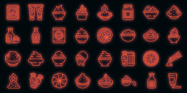 Wasabi set di icone vettoriali neon