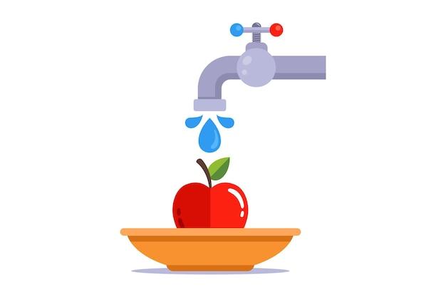 Lava una mela con l'acqua del rubinetto.