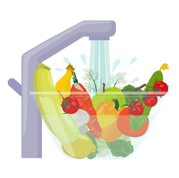 Lavare frutta e verdura prima di mangiare. cibo in una ciotola sotto l'acqua, cibo prima della cottura.