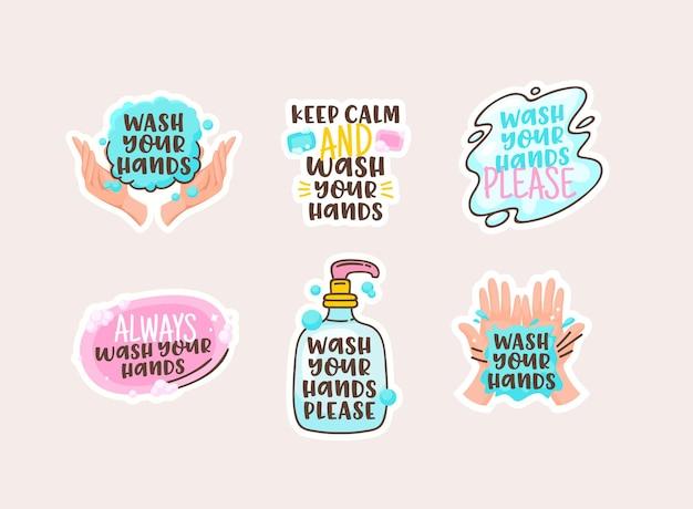 Lavati le mani adesivi cartoon con scritta doodle, pulisci palme umane e saponetta con bottiglia e macchia d'acqua. prevenzione delle malattie, elementi di design per l'igiene. illustrazione vettoriale, collezione di icone