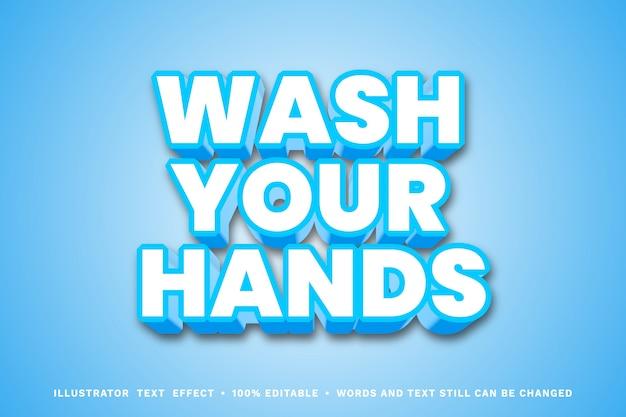 Lavati le mani, effetto di testo modificabile