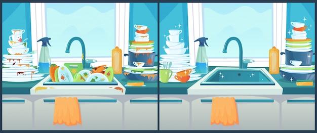 Lavare i piatti nel lavandino. piatto sporco in cucina, piatti puliti e illustrazione disordinata del fumetto del padellame