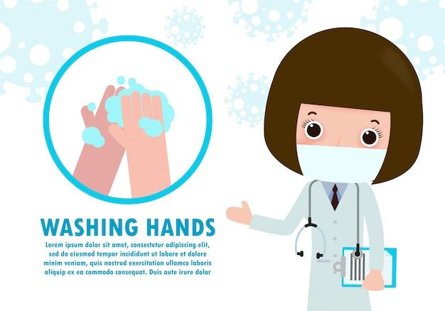 Lavarsi le mani con antibatterico aveva un disinfettante, gel carino carattere alcolico. disinfettante per le mani, simbolo nell'illustrazione piana del fumetto isolata